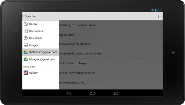 Android 4.4 KitKat office apps screenshot