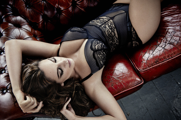 Kelly Brook models New Look Christmas lingerie collection