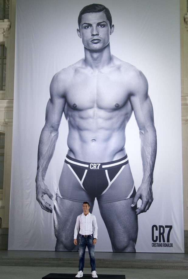 Cristiano Ronaldo launches his CR7 by Cristiano Ronaldo Underwear line at Palacio de Cibeles on October 31, 2013 in Madrid.
