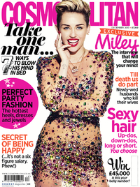 Miley Cyrus covers the December issue of Cosmopolitan