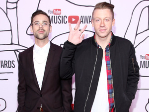 Ryan Lewis and Macklemore arriving at the YouTube Music awards 2013