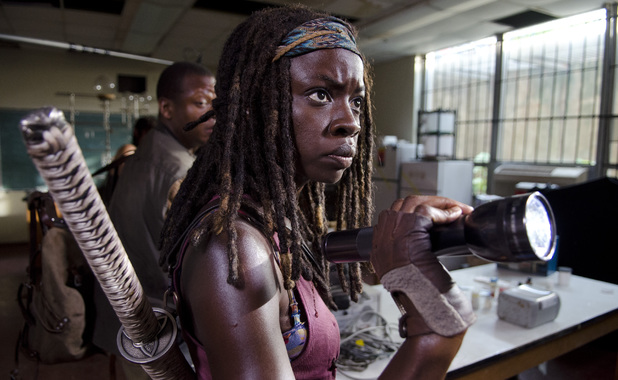 Bob Stookey (Lawrence Gilliard Jr.) and Michonne (Danai Gurira) in The Walking Dead Season 4, Episode 4: 'Indifference'