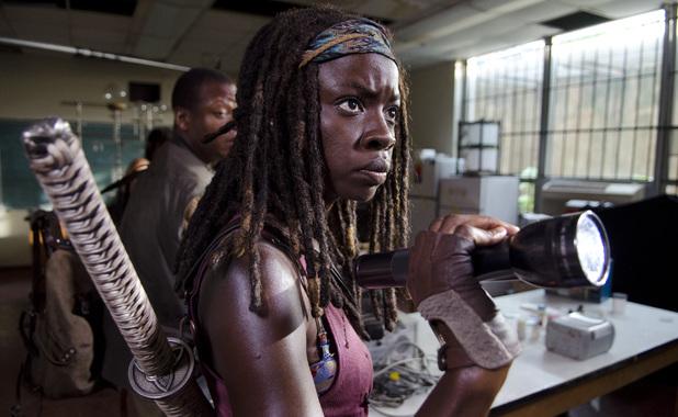 Bob Stookey (Lawrence Gilliard Jr.) and Michonne (Danai Gurira) in The Walking Dead Season 4, Episode 4: 'Indifference'