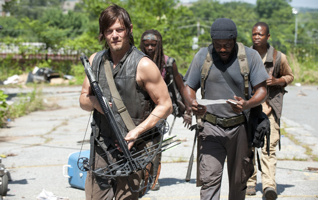 Daryl Dixon (Norman Reedus), Michonne (Danai Gurira), Tyreese (Chad Coleman) and Bob (Lawrence Gilliard Jr.) in The Walking Dead Season 4, Episode 4: 'Indifference'