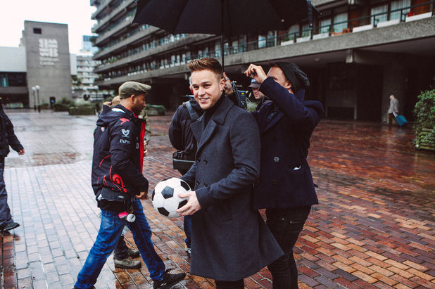 Olly Murs on the set of his new music video for 'Hand on Heart'