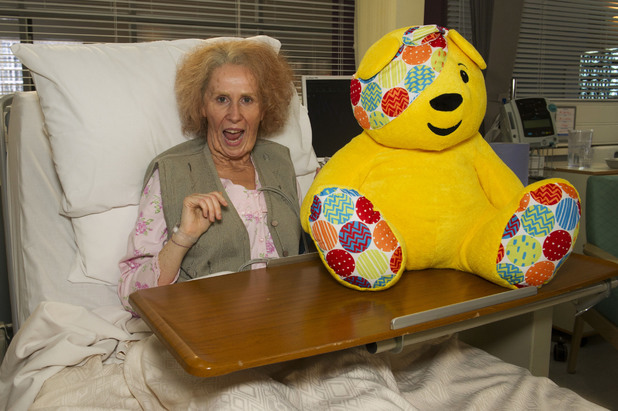 Catherine Tate on the set of Holby City
