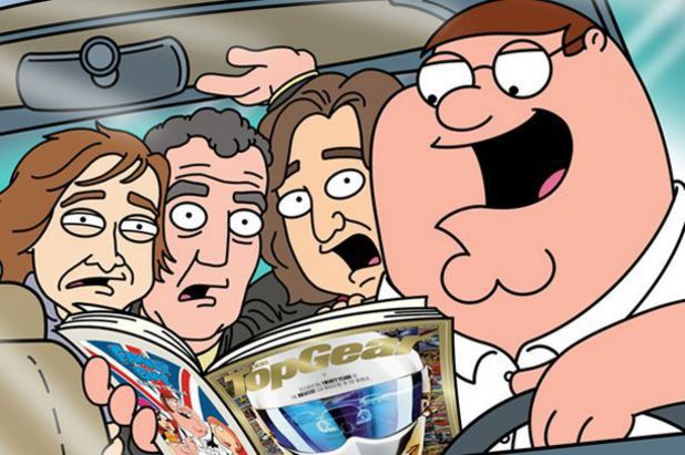 The hosts of Top Gear meet Family Guy's Peter Griffin