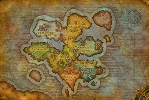 World of Warcraft: Warlords of Draenor zone map