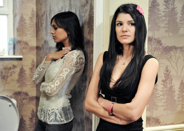 Alicia doubts Priya has had the abortion when she catches her being sick.