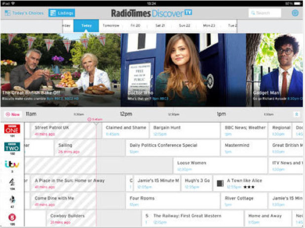 Radio Times DiscoverTV app for iPad
