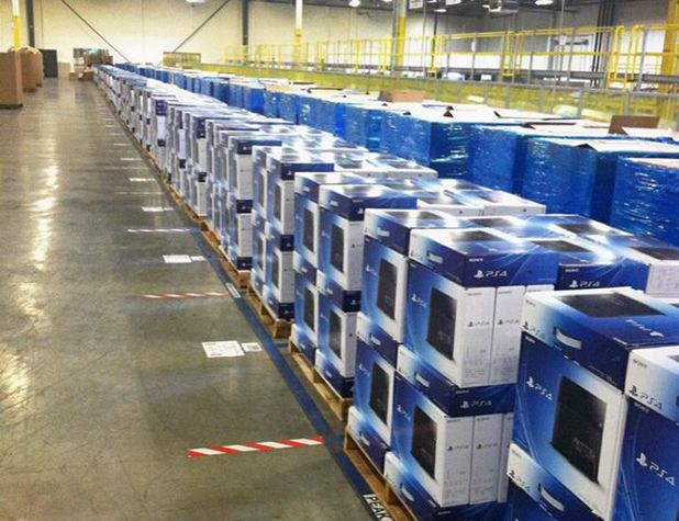 PS4 boxes at the Amazon warehouse