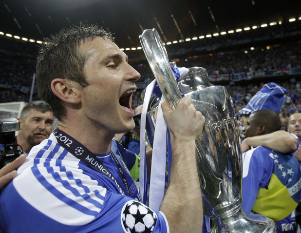 Frank Lampard with the UEFA Champions League trophy, May 2012