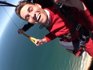 Joey enjoys the sky dive.