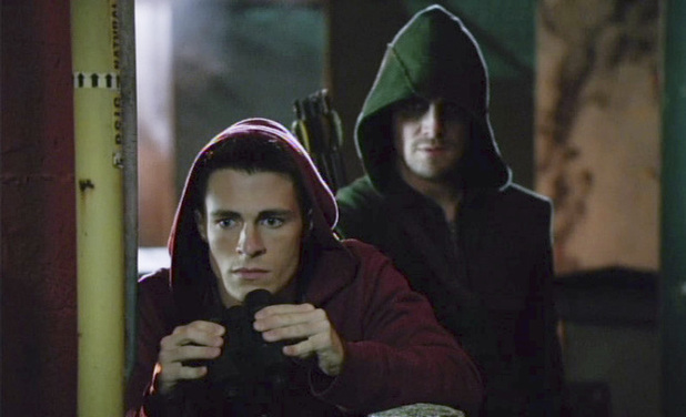 Colton Haynes as Roy Harper and Stephen Amell as The Arrow in Arrow S02E06: 'Keep Your Enemies Closer'