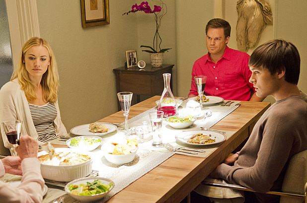 Michael C. Hall as Dexter Morgan, Yvonne Strahovski as Hannah McKay and Sam Underwood as Zach Hamilton in 'Dexter'