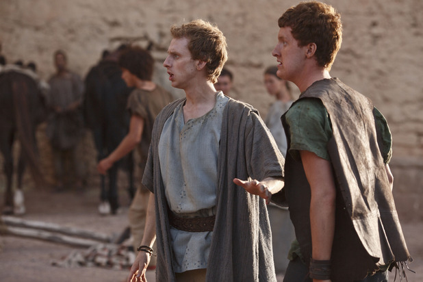 Pythagoras (Robert Emms) and Arcas (Will Merrick) in Atlantis episode 8: 'The Furies'