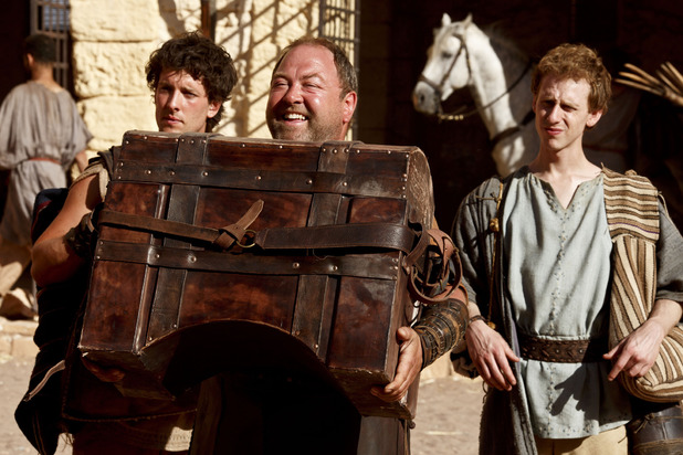 Jason (Jack Donnelly), Hercules (Mark Addy) and Pythagoras (Robert Emms) in Atlantis episode 8: 'The Furies'
