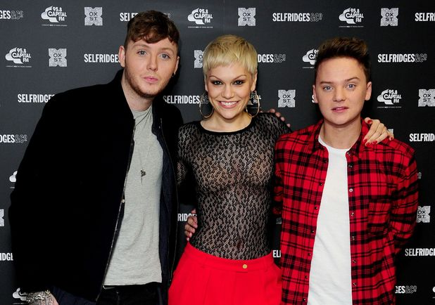 James Arthur, Jessie J and Conor Maynard before the switch on of the Christmas Lights on Oxford Street, London.