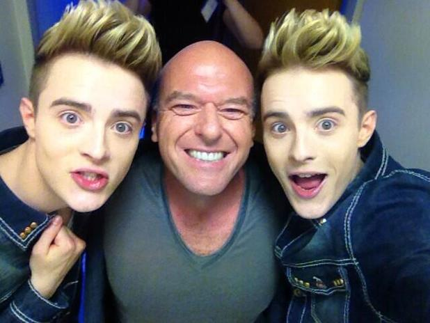 Jedward with <em>Breaking Bad</em> star Dean Norris