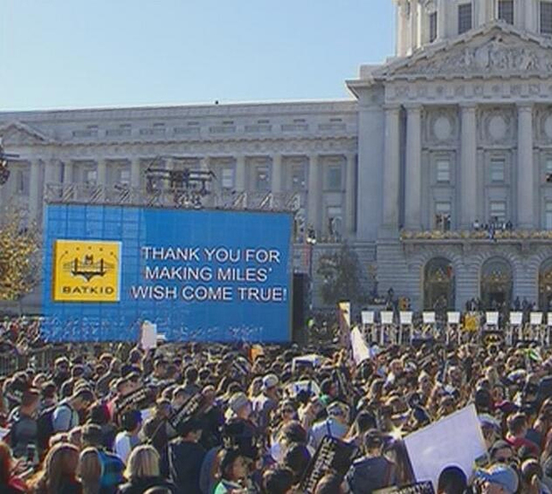 San Francisco City Hall thanks 'Batkid' Miles Scott.