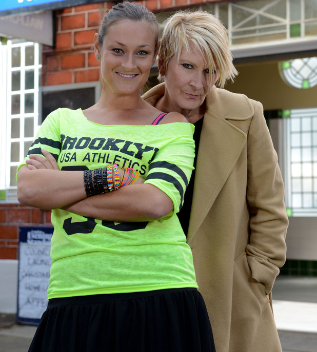 Luisa Bradhsaw-White and Linda Henry as Tina and Shirley Carter in EastEnders