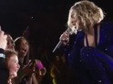 The singer performs her hit 'Irreplaceable' with 13-year-old Sophie in Perth.