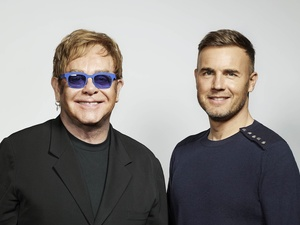 Gary Barlow and Elton John press shot.