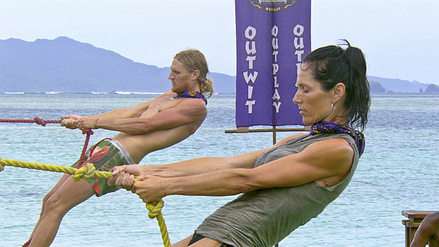 Tyson Apolstol and Monica Culpepper compete in the Immunity Challenge in 'Survivor: Blood vs Water' - 'Big Bad Wolf'