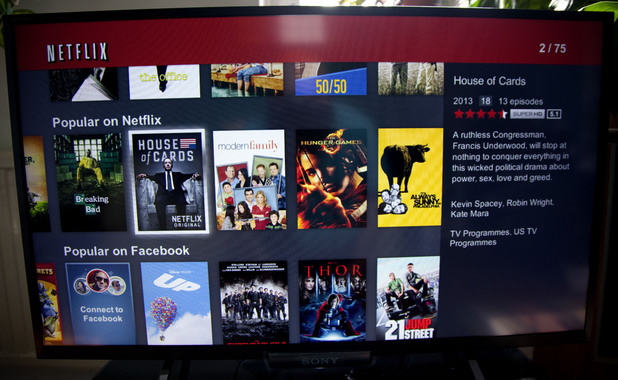 Netflix movie streaming on Sony Smart television