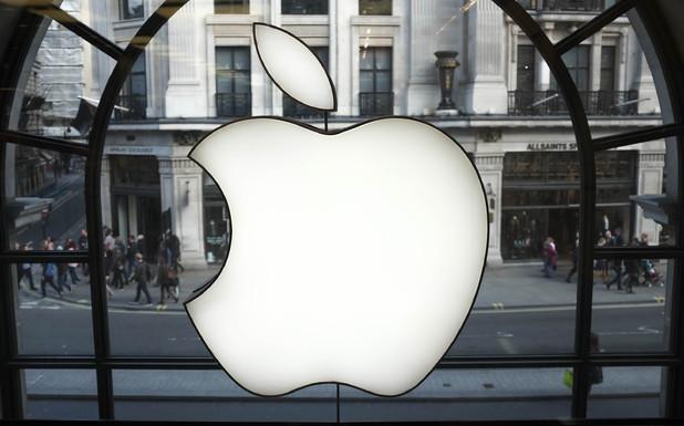 An Apple logo display at Apple's UK flagship Regent Street store
