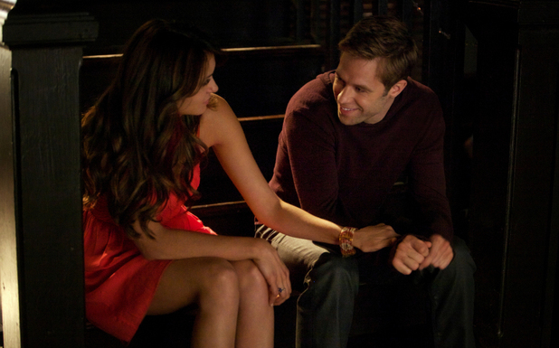 Nina Dobrev as Elena and Shaun Sipos as Aaron in The Vampire Diaries: 'Dead Man on Campus'
