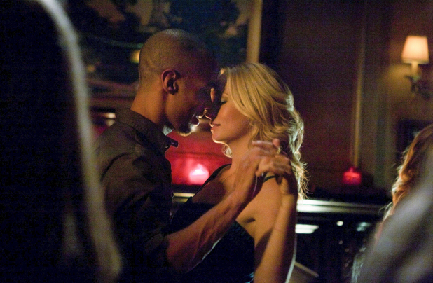 Kendrick Sampson as Jesse and Candice Accola as Caroline in The Vampire Diaries: 'Dead Man on Campus'