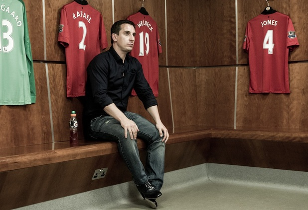 Gary Neville in a behind the scenes shot from 'The Class Of '92'