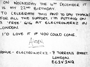 Aiden invites fans to free birthday gig.