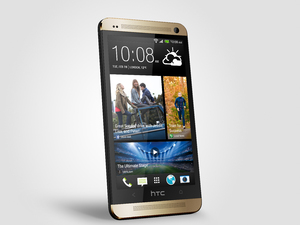 HTC One smartphone in gold