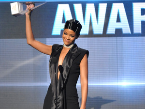Rihanna accepts the Icon award at the American Music Awards
