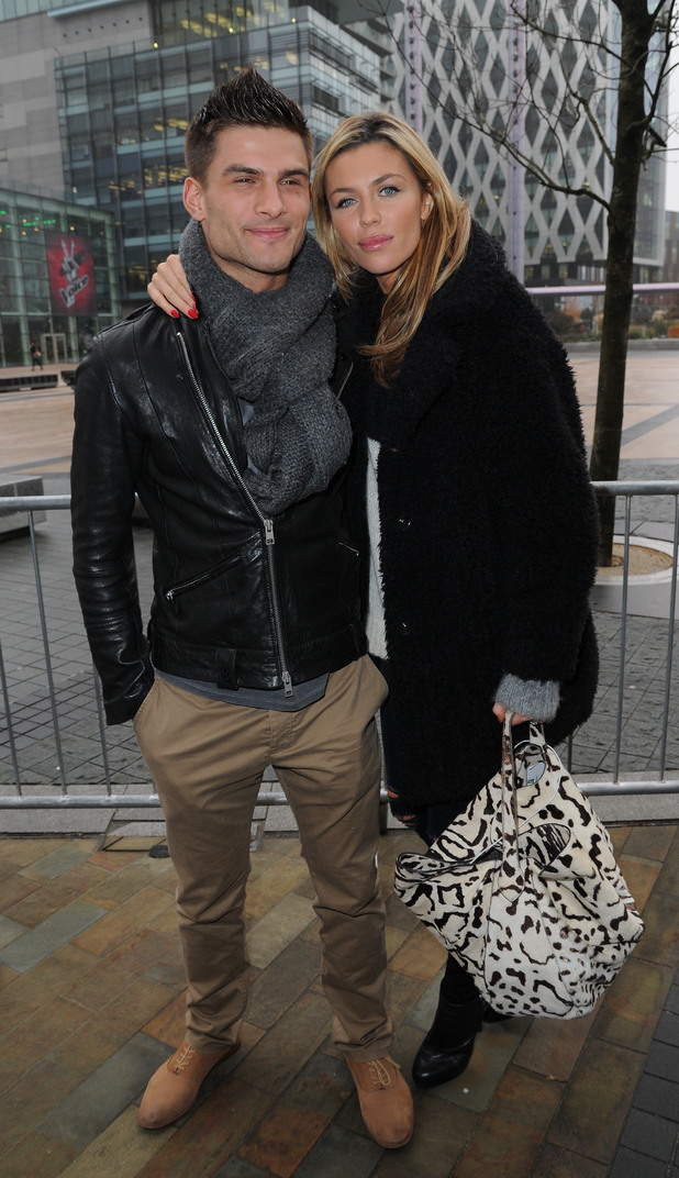Abbey Clancy and Aljaz Skorjanec at Media City in Manchester after appearing on BBC Breakfast