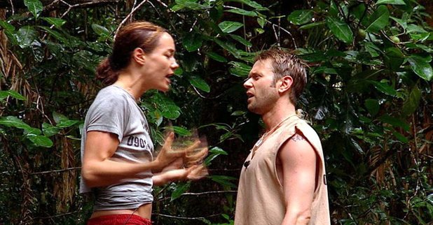 'I'M A CELEBRITY GET ME OUT OF HERE' TV PROGRAMME TARA PALMER-TOMKINSON AND DARREN DAY ARGUING 29 Aug 2002