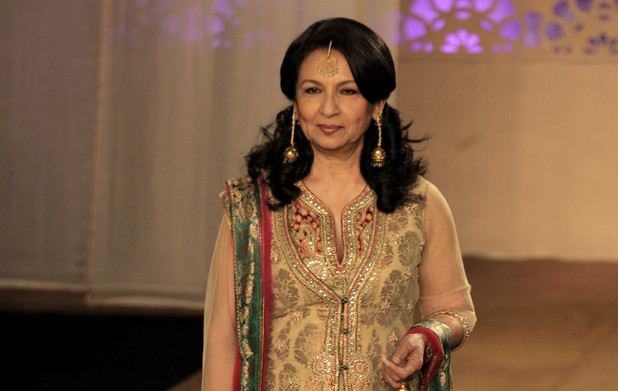 Sharmila Tagore displays a creation of Indian designer Ashima-Leena during Delhi Couture Week