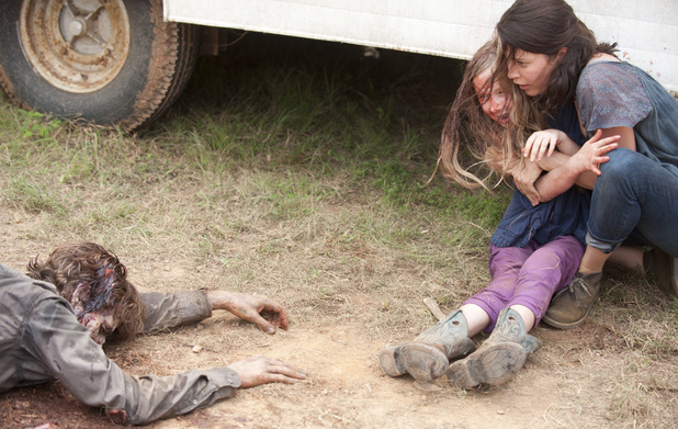 Meghan (Meyrick Murphy) and Lilly (Audrey Marie Anderson) in The Walking Dead: 'Dead Weight'