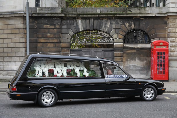 'Sherlock Lives' - the empty hearse in London.