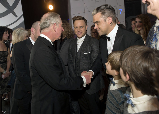Prince Charles, Robbie Williams, Olly Murs at the Royal Variety Performance, at the London Palladium, in central London.