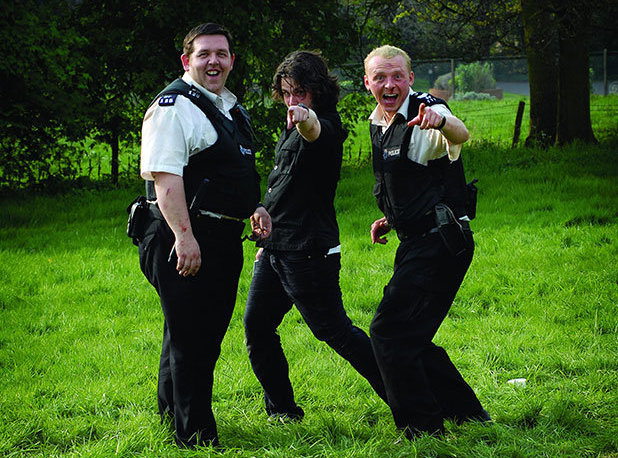 Nick Frost, Edgar Wright and Simon Pegg on the set of 'Hot Fuzz'