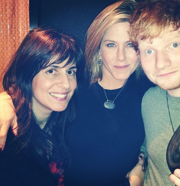 Jennifer Aniston and Ed Sheeran celebrate Thanksgiving.