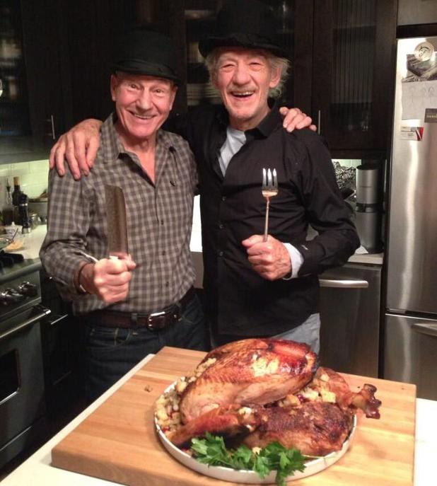 Sir Patrick Stewart and Sir Ian McKellen at Thanksgiving