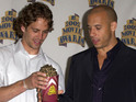 Paul Walker and Vin Diesel at the MTV Movie Awards 2002