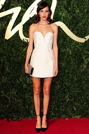 Alexa Chung arriving for the 2013 British Fashion Awards, at The London Coliseum, St Martin's Lane, London.