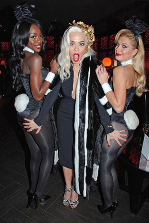Playboy 60th anniversary party at the Playboy Club, London, Britain - 02 Dec 2013 Rita Ora with bunny girls