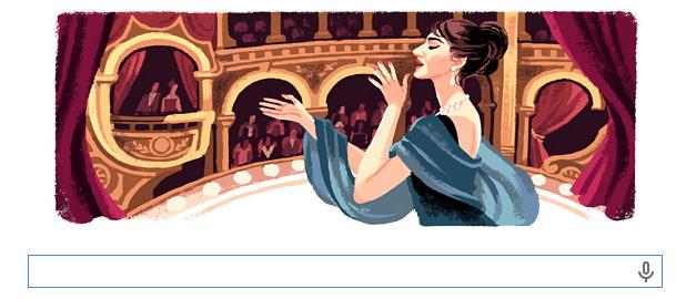 Maria Callas 90th birthday Google Doodle
