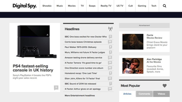 New Digital Spy homepage design